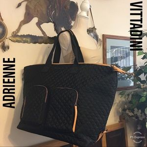 Adrienne Vittadini large black quilted travel bag